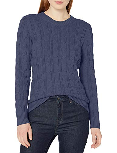 Amazon Essentials Long-Sleeve 100% Cotton Cable Crewneck Sweater Pullover-Sweaters, Dainty, S