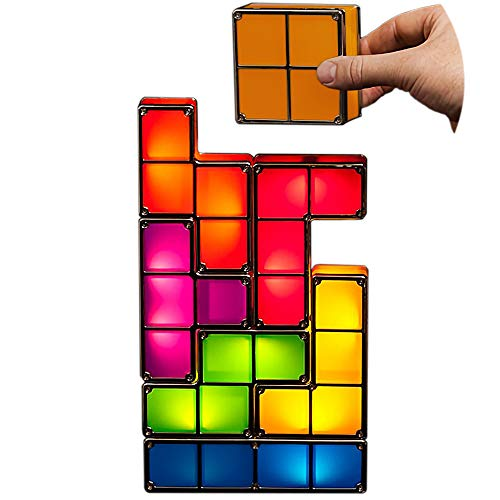Keeword DIY 7 PCS Tetris Night Light 7 Colors Stackable Tangram Puzzles 7 Pieces LED Induction Interlocking Lamp Magic Block Building Blocks 3D Toys Ideal Gift for Home Decorations