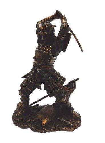 Bronzefigur, poliert, Samurai mit Schwert
