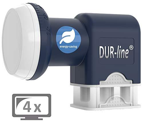 DUR-line Blue ECO Quad - Stromspar-LNB - 4 Teilnehmer - Premium-Qualität - [ Test SEHR GUT *] 4-Fach, digital, Full HD, 4K, 3D