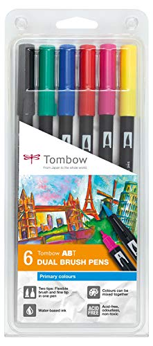 Tombow Dual Brush - Estuche 6 rotuladores doble punta pincel, color muticolor