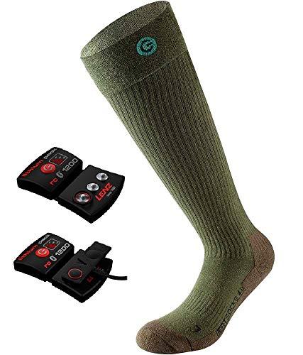 Lenz Set of Heat Sock 4.0 Toe Cap + AKKU Set RCB 1200 mAh I Beheizbare Socken/Strümpfe I Damen I Herren I Outdoor I Jäger I Förster I Wandern I Grün 45-47