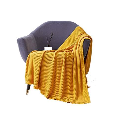 ZLDMYC Manta de Punto Gris Sofá la Manta del Tiro Amarillo Suave de la Raya del Tejido en Cable Manta de Viaje 130x180cm Inicio Sofá Cama Sofá Silla (Color : Yellow)