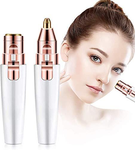 2020 récent 2 en 1 électrique indolore rasoir à sourcils épilateur facial épilateur sourcils tondeuse tinkle shaper stylo impeccable petit pack kit pour femmes sans fil humide ou sec (Rose)