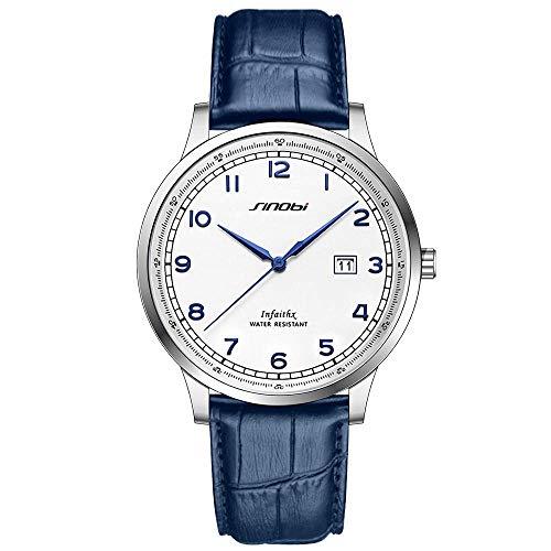 Clásico Adj Impermeable Reloj De Cuarzo Deportivo para Hombre con Diseño De Acero Inoxidable y Personalidad De con Pulsera De Malla (Blue-Arabic-Leather)