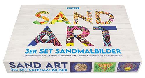 Stylex 46800 - Kreativset Sandmalbilder mit Tier-Motiven, Komplettset mit 3 Vorlagen, 3 Pinzetten und 45 Kartuschen mit farbigem Sand, zur Gestaltung von Bildern mit Quartzsand