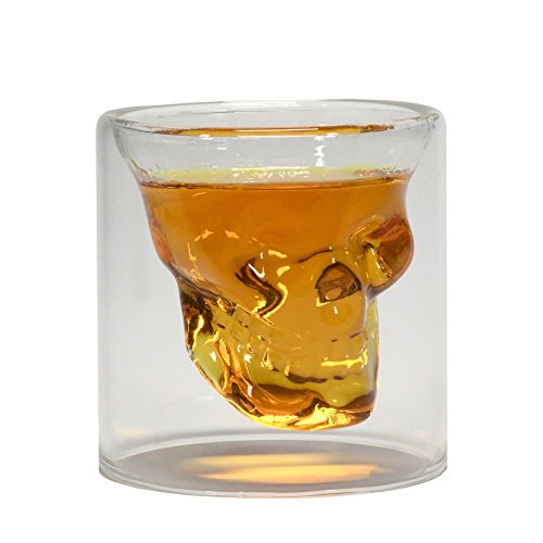 Defiance Tools Skull Shot Glass, Double Wall Crystal Skull Novelty Skull Glass, Perfect for Man Cave, Home Bar, Birthday