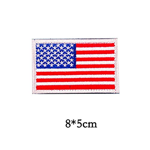 Egurs 2 Stück Klett Patch 8 x 5 cm für Jacke, Hüte, Rucksäcke, Amerikanische Flagge