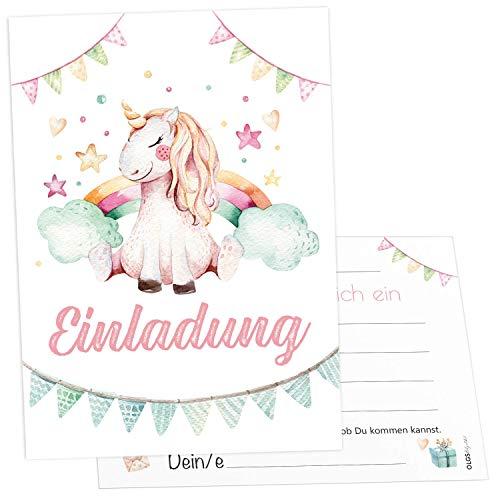 12x Prinzessin Einhorn Einladungskarten inkl. Umschläge perfekte Einladung zum Kindergeburtstag oder Kinder Party | Geburtstag-Einladungen zum ausfüllen (Einhorn)