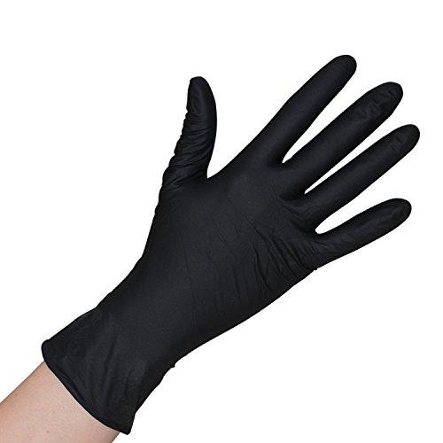 Herrmann Einweghandschuh in Größe L | 100 Stück | Latex Einzelhandschuhe Schwarz in praktischer Spenderbox | Ideal für Hygienebereiche - wie Lebensmittelbranche, Kosmetik UVM. (L)