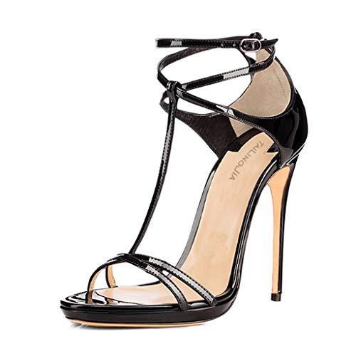 Sandalias De Tacón Alto For Mujer, Charol con Correa En T, Bolso De Punta Abierta, Tacón Fino, Zapatos De Banquete De Tacón Alto (Color : Black, Size : 40)