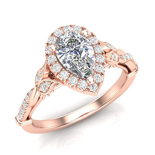Amazon Com 14k Rose Gold Pear Shape Halo Ring Floral Band Twist Shank Infinity Ring Twisted Engagement Ring Vintage Filigree Engagement Ring Art Deco Ring Forever One Colorless Moissanite Center Ring For Her