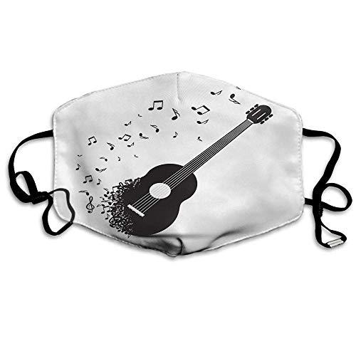 Atmungsaktive Premium Gesichtsschutzhülle,Gitarre Gesichtsdekorationen Akustikgitarre Auf Retro Trübe Musiknoten Melodie Frauen Männer Anti Wind Staubdichte Schutzhülle Für Skifahren Camping Reisesi