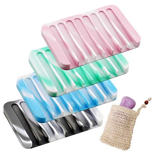 Grantop Silikon Seifenschale mit Ablauf, 4 Stück Kreative eifenhalter Platzsparer mit Ablauf Mehrfarbig für Küche Bad Zähler,mit einem Seifenaufbewahrungsbeutel
