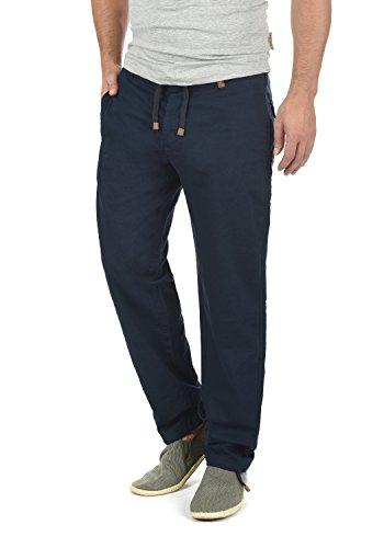 Pantalon lin pantalon long pantalon tissu confortable en lin mélangé de haute qualité Indicode Ives - Bleu - W54