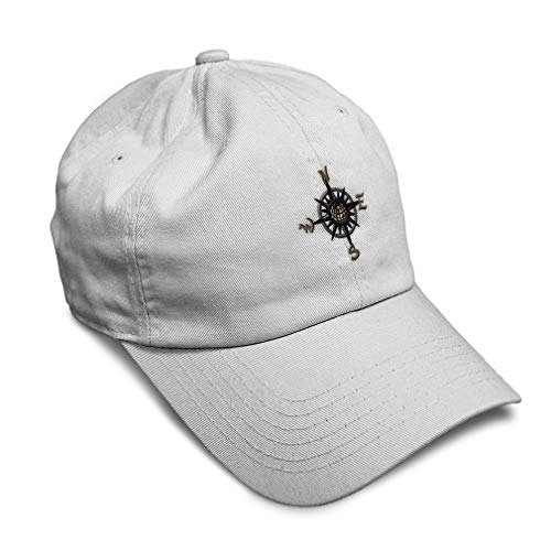 Soft Baseball Cap Nautical Compass Embroidery Cars & Transportation Boats Twill Cotton Dad Hats for Men Women Buckle Closure White Design Only