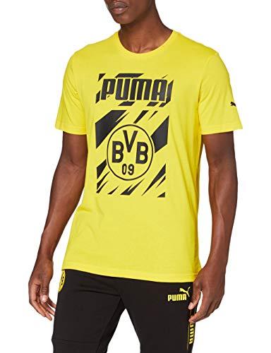 PUMA Maglietta da Uomo BVB Ftblcore Graphic Tee, Uomo, T-Shirt, 758089, Cyber Yellow-Puma Black, M