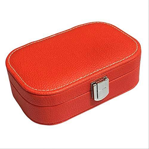 Winter Cajas de Joyas Joyero, Caja de Anillo portátil, Caja de Pendientes, joyero, joyero de Cuero sintético con Espejo, Mujer Rojo