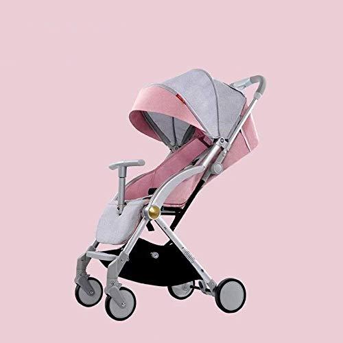 Yankuoo 3-in-1 kinderwagen, ultralichte en liggende draagbare paraplu, opvouwbare kinderwagen, 4-wielschok, vijfpuntsveiligheidsgordel, 1-knops vouwen roze