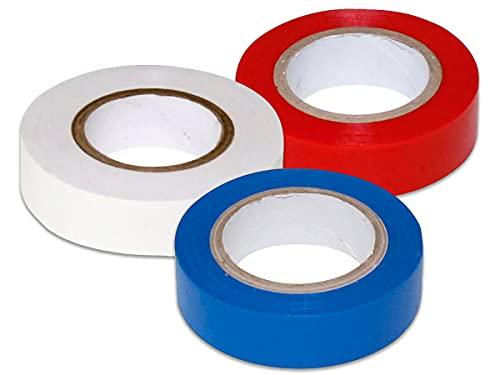 LEDLUX Kit da 3 Rotoli, Nastro Isolante Elettrico in PVC,19mm X 5m, Colore Assortiti, Bianco Rosso Blu