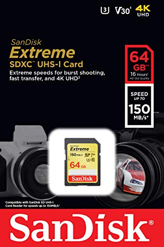 SanDisk Extreme 64GB SDXC Memory Card up to 150MB/s, Class 10, U3, V30
