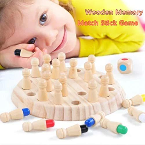 Holzpuzzle Schach Spielzeug,Kinder-Holz-Memory Match Schach-Spielzeug,Kinder Frühe Bildung Spielzeug,3D Family Party Puzzle Casual Games,Memory-Spiel Kinder Neuheit-Spielwaren (Mehrfarbig)