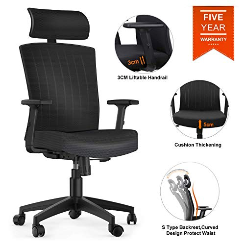 Komene Office Desk Chair,5 Years Warranty Weight Hold Up 250IBS,Comfortable Thick Seat Cushion Ergonomic Computer Chair with Adjustable Headrest Armrests Seat Height,High Back Black 172C (B-Black)