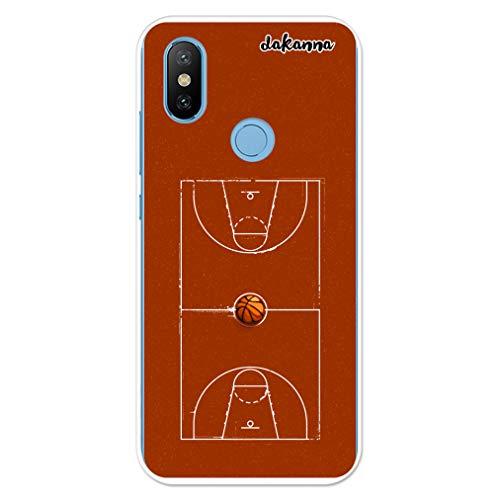dakanna Funda para Xiaomi MI A2 - Mi 6X | Campo y balón de Baloncesto | Carcasa de Gel Silicona Flexible Transparente