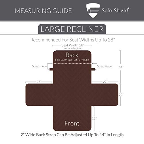 """The Original SOFA SHIELD Reversible Couch Slipcover Furniture Protector, 2 Inch Elastic Strap, Machine Washable, Cover Perfect for Pets, Seat Width Up to 30"""" (Recliner Oversized: Chocolate/Beige)"""