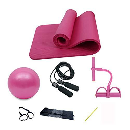 ZZALLLJuego de colchoneta de Yoga portátil Antideslizante de 10 mm Almohadilla expansor de Pecho Saltar la Cuerda Bola de Pilates - Rosa