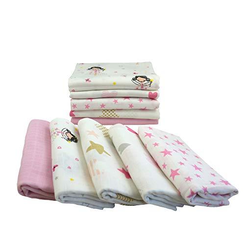 Pañales de gasa 10 unidades Mix | Paños para vómitos bebé | Pañales de tela 80 x 70 cm | Paños de gasa absorbentes | Certificado Öko-Tex (Set para niñas)