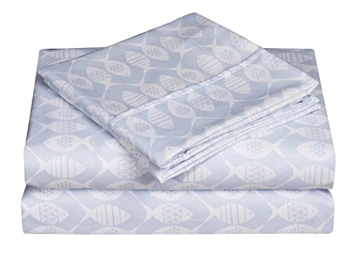 Elegant Comfort Ultra-Soft Double Brushed 4-Piece Microfiber Sheet Set. Beautiful Tropical Patterns, and Vibrant Solid Colors, Luxury, All-Season Bed Sheet Set - Blue Fish, Queen
