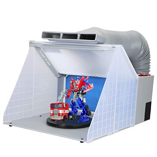 BTIOWAT Cabina de pulverización con aerógrafo con aspiradora,Adecuado para Colorear Juguetes en Miniatura con Pistola pulverizadora,Manguera de Escape de 0,7 a 1,7 m, Filtro, iluminación LED
