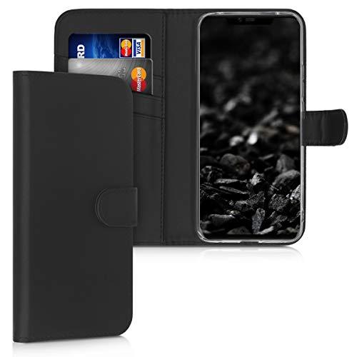 kwmobile Wallet Hülle kompatibel mit Huawei Mate 20 Pro - Hülle Kunstleder mit Kartenfächern Stand in Schwarz
