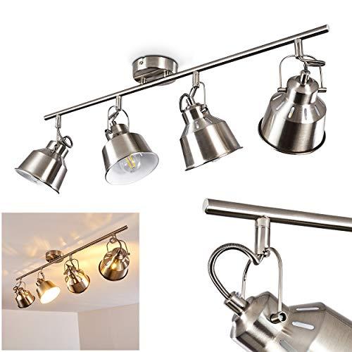 Plafondlamp Safari, plafondlamp van metaal in geborsteld staal/wit, 4 vlammen, met verstelbare spots en lichteffect, 4 x E14 stopcontact max. 40 Watt, spot in retro/vintage uitvoering, LED geschikt