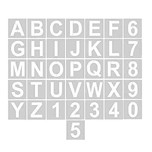 CHMYY 36 Pièces Lettres et Chiffres Pochoirs, Réutilisables 3 Pouces Plastique Pochoir Lettre pour Des Projets de Bricolage Blanc Alphabet Pochoir