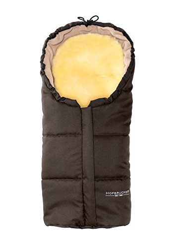 Hofbrucker Lammfell-Fußsäckchen Leni für Babyschale & Kinderwagenschale | Lammfell herausnehmbar | Winterfusssack wasserabweisend & Mumienform | Lammfellfußsack Made in Germany, Design:braun