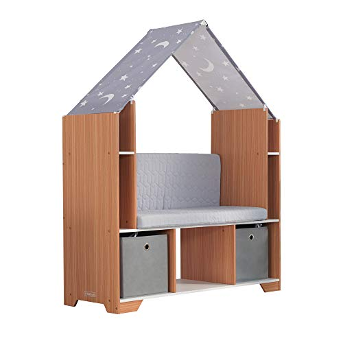 KidKraft Little Dreamer Deluxe Reading Nook, Children's Bookcase Furniture with Storage Bins, Gift for Ages 3-8 44 x 15.8 x 54.2