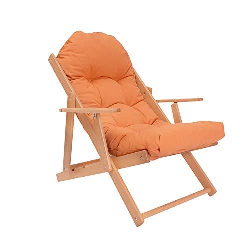 YCSD Fauteuil Lounge en Bois Massif Pliant Bureau Adulte Unique Sieste Chaise De Balcon (Couleur : Orange)
