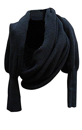 Butterme Mode Winter warme Normallack gestrickter Verpackungs Schal Häkeln Thick Schal Umhang mit Sleeve für Frauen und Männer (Schwarz)