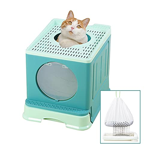 Suhaco Cat Litter Box with Lid, Top Entry Anti-Splashing Kitty Litter Boxes, Drawer Type Cat Potty with Disposable Sifting Liners, Including Cat Litter Scoop (Green)