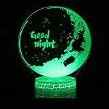 Creativo 3d luz de noche LED regalo del día de San Valentín Usb llevó luces 3d Base blanca encantadora 7 colores cambiantes lámpara 3D