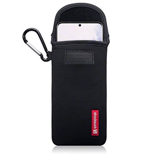 shocksock, Kompatibel mit Samsung Galaxy S20 Neopren Tasche mit Carabiner Hülle - Schwarz