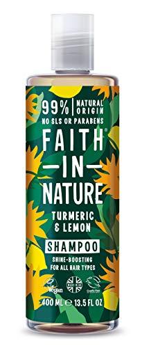 Faith in Nature Natuurlijke kurkuma & citroen shampoo, glansverhogend, veganistisch & zonder dierproeven, vrij van parabenen en SLS, voor alle haartypes, 400 ml