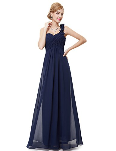 Ever-Pretty Juniors One Shoulder Empire Waist Long Prom Dress 10 US Navy Blue