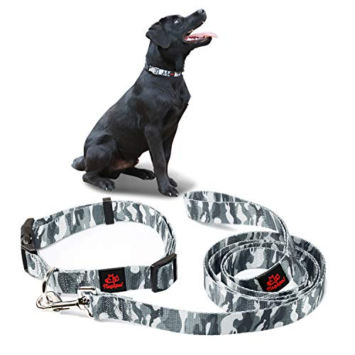 Negbpol Dog Collars with Leash Set, Pet Essentials,Collar and Leash Set for Medium Dogs & Small Dog & ,Adjustable Dog Collar,Daily Outdoor Walking Running Training ,Nylon Camouflage Gray 2 Piece Set