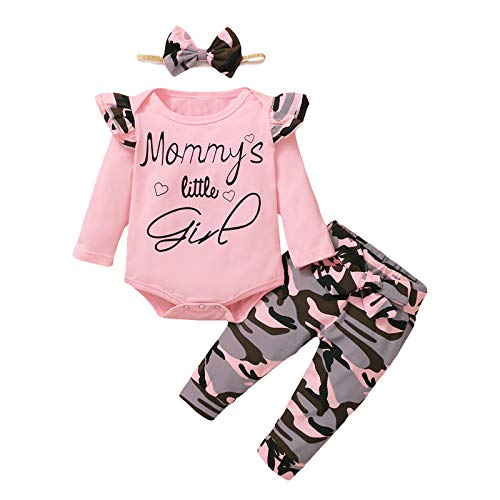 Moent Conjunto de ropa para niñas, recién nacido, mameluco con estampado de San Valentín y pantalones con estampado de camuflaje, ropa para el día de San Valentín para niño y niña