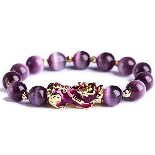Piedra Ojo de Feng Shui cambio del color del Pixiu Piyao Riqueza pulsera prosperidad Gato púrpura Chakra curativo natural Crystal Eye Talisman Mal atraer el dinero de la buena suerte,Purple turns red