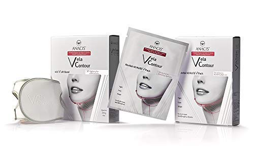 Double Chin Reducer Neck Firming Face Shaping Strap and Masks. Vela Contour- (Contouring Face Belt + 5 Masks)