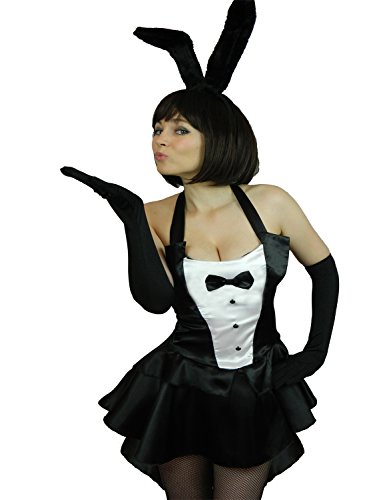 Yummy Bee - Lapine Bunny Girl Lapin Costume Femme Adulte Déguisement Hôtesse de Soirée + Résille Collants Grande Taille 34 - 46 (34)